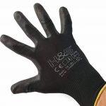 12 paires de gants de travail par ISC H & S, nylon, enduit de PU ; disponible en S petit (7), M moyen (8), L large (9), XL x-large (10), XXL xx-large (11) ; sans couture, polyvalent, noir de la marque ISC Hygiene & Safety image 2 produit