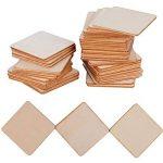 (4 x 4cm) 50pcs Bois Carré Tranches Bois Etiquette pour Peinture Bricolage DIY Mariage Carte Nom de la marque DEOMOR image 2 produit
