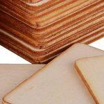 (4 x 4cm) 50pcs Bois Carré Tranches Bois Etiquette pour Peinture Bricolage DIY Mariage Carte Nom de la marque DEOMOR image 4 produit