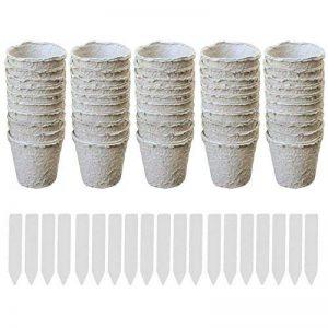 50pcs Rondes Tourbe Pots Début de Semis Tasses Herbes Pépinière Semences Biodégradables Pots avec étiquettes Fabricant de la marque Gosear image 0 produit
