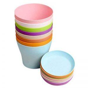 8 Pcs 10 cm Petite Pots de Plantes Colorées En Plastique Pots De Fleurs Plantes D'intérieur Pots pour Bureau Maison avec Palette / Plateaux, 8 Couleurs de la marque KINGLAKE image 0 produit