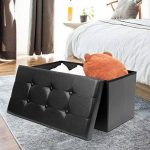 AMOIU Taille Grande 76cm Ottoman de Rangement Pliable Coffre Cube de Repose-Pieds Tabouret de Café Banc d'Éponge Confortable, Simili Cuir, Noir de la marque Amoiu image 1 produit