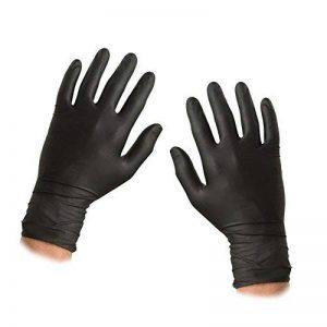ASC Noir nitrile Gants jetables–Taille grande–texturé–Poudre et sans latex Gants–100(50paires) de la marque ASC image 0 produit