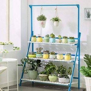 Bleu 3 Niveaux Plante Échelle Bambou Multifonctionnel Plante Fleur Pot Stands Intérieur Extérieur ( taille : 100*40*96CM ) de la marque Fleur étagère image 0 produit