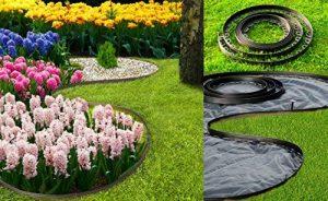 All4Gardener Bordure de pelouse en Plastique avec Bordure 6 m Noir