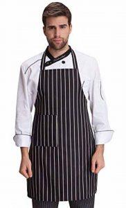 Feoya - Tablier de Cuisine Longue Durable Femme Homme avec Poche Tablier de Travail à Rayures pour Café Bistrot Barbecue de la marque FEOYA image 0 produit