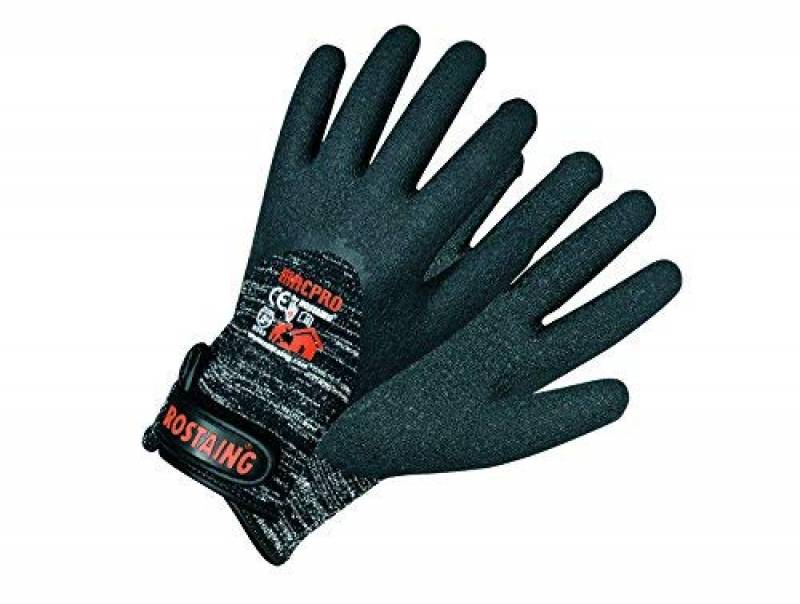 Noir//Blanc 24 x 12 x 1 cm Rostaing MAXSTRONG.F-IT08 Gant Serie Touch Femme Gros Travaux R/ésistance /à la Coupure Leash Poignet Fonction Tactile