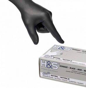 Gants nitrile jetables non poudrés H&S (100 pièces), S Small M Medium L Large XL X-Large, sans latex, convient pour aliments, dermophile et bien tolérée - est idéale pour les peaux sensibles (noir, L) de la marque ISC Hygiene & Safety image 0 produit