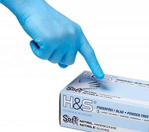 Gants nitrile jetables non poudrés H&S (100 pièces), S Small M Medium L Large XL X-Large, sans latex, convient pour aliments, dermophile et bien tolérée - est idéale pour les peaux sensibles (bleu, XL) de la marque ISC Hygiene & Safety image 0 produit