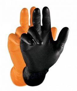 grippaz de gants nitrile (Lot de 50)   S à XXL   garanti sans latex gants de travail Idéal pour garages, mécanique & Industrie   en caoutchouc avec pellicules Relief   Gants jetables + stérile & hygiénique brevetée + 100Gants, noir de la marque Grippaz image 0 produit