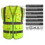 """JKSafety 9 poches de classe 2 """"gilet de sécurité haute visibilité devant avec des bandes réfléchissantes, jaune répond aux normes EN ISO 20471 - Unisexe(XX-Large) de la marque JKSafety image 2 produit"""