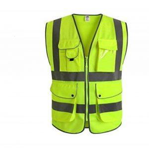"""JKSafety 9 poches de classe 2 """"gilet de sécurité haute visibilité devant avec des bandes réfléchissantes, jaune répond aux normes EN ISO 20471 - Unisexe(XX-Large) de la marque JKSafety image 0 produit"""
