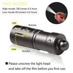 Mini lampe de poche LED rechargeable taille porte-clefs - Petite lampe de poche LED USB 2-fonctions incluant batterie rechargeable, câble micro-USB, O-rings étanche et O-ring (Gris) de la marque helius image 2 produit
