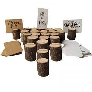 MZTD 20pcs Stand en Bois Porte-Cartes en Bois Support Photo Carte Nom Place Numéro Table pour Boulangerie Mariage Fête Anniversaire+50pcs Kraft Papier Carte de la marque MZTD image 0 produit
