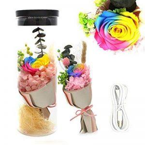 [nouvelle version 2018] Préservé Rainbow Rose avec la lumière colorée 100% naturel fleurs fraîches rechargeables Creative Gifts mariage Noël Valentine fête des mères choix parfait pour les femmes de la marque MXIN image 0 produit