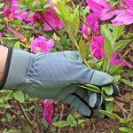 Ozero Gants de jardinage pour femme en daim Gants de travail pour jardin/ménage/réparation automobile /poignée–absorbe la transpiration et compatible avec les écrans tactiles, Jaune-bleu/Gris-bleu clair/Orangé-bleu (S/M/L/XL), gris de la marque O image 3 produit