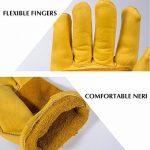 Paire de gants de travail en cuir BearHoHo - Pour hommes - Avec serrage de poignet à balle et ruban adhésif - En fibre de peau de vache, jaune de la marque BearHoHo image 2 produit