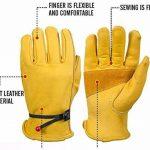 Paire de gants de travail en cuir BearHoHo - Pour hommes - Avec serrage de poignet à balle et ruban adhésif - En fibre de peau de vache, jaune de la marque BearHoHo image 1 produit