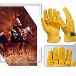 Paire de gants de travail en cuir BearHoHo - Pour hommes - Avec serrage de poignet à balle et ruban adhésif - En fibre de peau de vache, jaune de la marque BearHoHo image 3 produit