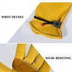 Paire de gants de travail en cuir BearHoHo - Pour hommes - Avec serrage de poignet à balle et ruban adhésif - En fibre de peau de vache, jaune de la marque BearHoHo image 4 produit