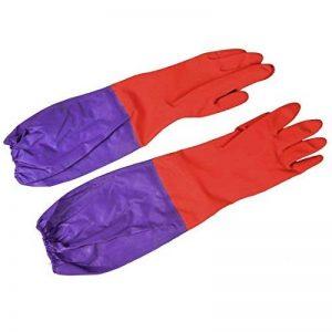 Paire de travail domestique de nettoyage Longueur coude Gants en latex violet/rouge de la marque Sourcingmap image 0 produit