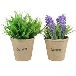Petites Plantes Artificielles Fausses Plantes Fleurs 2 Pots - Lavande-Fougère de Boston de la marque MUJIA image 0 produit