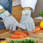 qayan Paire de gants anti coupures - Protection de niveau 5 conforme à la norme EN 388 - Parfait protection contre les coupures du quotidien (cuisine, jardinage, bricolage) (l) de la marque qayan image 1 produit