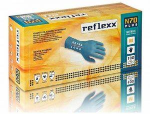 Reflexx N70p/XXL Extra long, 29cm, sans poudre Gants en nitrile gr 5.8, taille XXL, Bleu clair (lot de 100) de la marque Reflexx image 0 produit