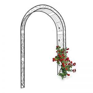 Relaxdays Arche à rosiers tuteur pour roses obélisque Support de plantes grimpantes colonne de Jardin en fer revêtu de poudrage-H x l x P: 226 x 144 x 36,5 cm-noir de la marque Relaxdays image 0 produit