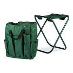 Relaxdays Tabouret porte-outils de jardinage 16 poches et compartiment intérieur pliable HxlxP: 42 x 30 x 39 cm, vert de la marque Relaxdays image 3 produit