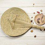 Rond Naturel Cattail Feuille tissé à la main Fan, ventilateur de refroidissement à main levée, parfait pour l'été de la marque Hjuns image 2 produit