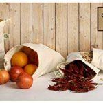 """Sac de produits réutilisables Muslin Organic - Set de 6 (2 grands, 2 moyens, 2 petits) Tous les sacs de produits en coton organique naturel de coton et de lin GOTS Approved (2 of Lg., Med. & Sm.) (8x10 """", 10x12"""", 15x12 ')) de la marque All Cotton and Line image 1 produit"""