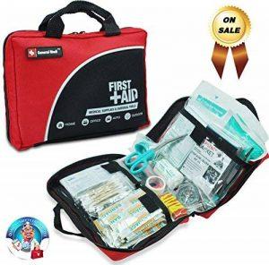 Sac de trousse de premiers secours de 160 pièces - Comprend un paquet de glace (glace), couverture d'urgence, Glow Stick, boussole, ciseaux pour (Rouge) de la marque image 0 produit