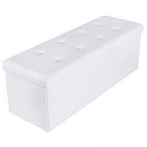 Songmics 110 x 38 x 38 cm grand Pouf Coffre de Rangement Pliable chargement max. de 300 kg blanc LSF702 de la marque SONGMICS image 0 produit