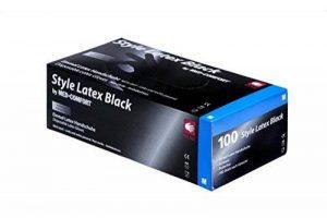 Style Latex Noir Gants d'examen en latex 14–028, non poudrés, noir, polymerbeschichtet, non stériles, 240mm de long de la marque Ampri Handelsges. mbH image 0 produit