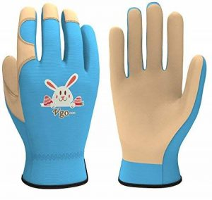 Vgo Glove Gants de jardinage et de travail pour enfant, cuir synthétique et spandex respirant avec mignon lapin impression (Violet & Azur Junior M & S & XS & XXS) de la marque Vgo... image 0 produit
