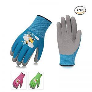 Vgo Glove Gants de jardinage et de travail pour enfants, revêtement en caoutchouc de mousse (3 paires, 3 couleurs, taille pour âge 3-5, 6-8) de la marque Vgo... image 0 produit