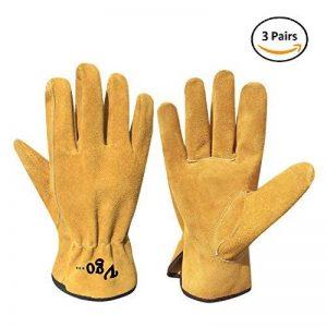 Vgo Glove Gants luxueux de Travail, en Cuir de Vachette, pour Chauffeurs, Jardinage, Stockage, Travaux Agricoles. Multifonction (3 Paires, Jaune, 9/L & 10/XL) de la marque Vgo… image 0 produit