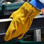 Vgo Glove Gants luxueux de Travail, en Cuir de Vachette, pour Chauffeurs, Jardinage, Stockage, Travaux Agricoles. Multifonction (3 Paires, Jaune, 9/L & 10/XL) de la marque Vgo… image 4 produit
