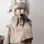 Yunt Tablier Femme Tablier en Coton et Lin Lavable Apron de Style Simple et à la mode pour Jardinage/Bricolage/Cuisson/Café/Studio (Couleur d'avoine) de la marque Yunt image 2 produit